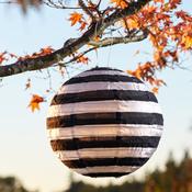 "Striped, Black & White - Soji Round Nylon Solar Lantern 14"""