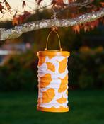 "Orange - Soji Canvas Cylinder Solar Lantern 6""X10"""