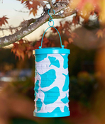 "Turquoise - Soji Canvas Cylinder Solar Lantern 6""X10"""