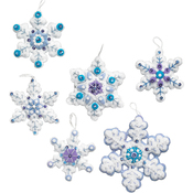 "4""X4"" Set Of 6 - Sparkle Snowflake Ornaments Felt Applique Kit"