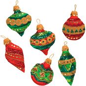 "3""X4"" Set Of 6 - Glitzy Ornaments Felt Applique Kit"
