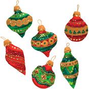 """3""""X4"""" Set Of 6 - Glitzy Ornaments Felt Applique Kit"""