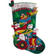 "18"" Long - Choo Choo Santa Stocking Felt Applique Kit"