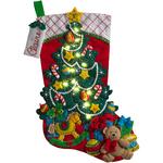 "18"" Long W/ String Lights - Christmas Tree Surprise W/ Lights Stocking Felt Applique Kit"