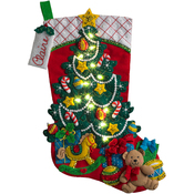 "18"" Long W/ String Lights - Christmas Tree Surprise W/ Lights Stocking Felt Applique Kit"