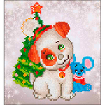 "Christmas Pup & Mouse - Diamond Dotz Diamond Embroidery Facet Art Kit 11""X11.75"""