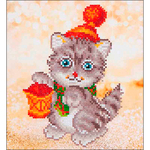 "Christmas Kitten Glow - Diamond Dotz Diamond Embroidery Facet Art Kit 11""X11.75"""