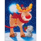 "Reindeer Gift - Diamond Dotz Diamond Embroidery Facet Art Kit 13.75""X17"""