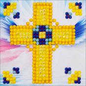 "Golden Cross - Diamond Dotz Diamond Embroidery Facet Art Kit 4.75""X4.75"""
