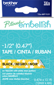 Yellow With White Stars - P-Touch Embellish Black Print Pattern Tape
