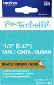 Gold Geometric  - P-Touch Embellish Black Print Pattern Tape