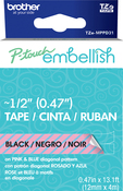 Pink & Blue Diagonal - P-Touch Embellish Black Print Pattern Tape