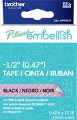 Pink & Blue Diagonal - P-Touch Embellish Black Print Pattern Tape