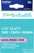 Purple Floral - P-Touch Embellish Black Print Pattern Tape