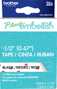 Pink Heart - P-Touch Embellish Black Print Pattern Tape