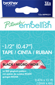 Red Gingham - P-Touch Embellish Black Print Pattern Tape