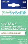 Gold On White - P-Touch Embellish Satin Ribbon