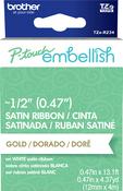 Gold On White - P-Touch Embellish Satin Ribbon