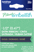 Gold On Navy Blue - P-Touch Embellish Satin Ribbon