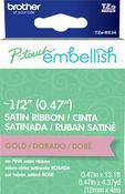 Gold On Pink - P-Touch Embellish Satin Ribbon