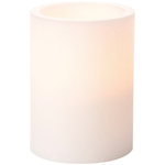 White - Battery Operated LED Pillar Candle W/Timer 4""