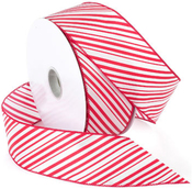 """Red/White - Peppermint Wired Ribbon 2.5""""X50yd"""
