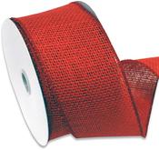 "Red - Burlap Wired Ribbin 2.5""X10yd"