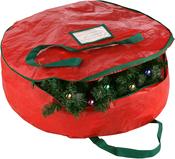 "Red, 24""X7"" - Elf Stor Premium Wreath Storage Bag"