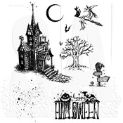 """Haunted House - Tim Holtz Cling Stamps 7""""X8.5"""""""