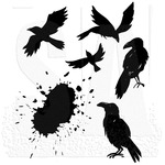 "Ravens - Tim Holtz Cling Stamps 7""X8.5"""