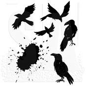"Ravens - Tim Holtz Cling Stamps 7""X8.5"""