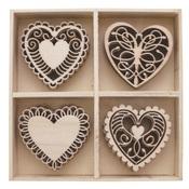 Hearts Wood Shapes - Bo Bunny