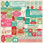 Colorful Christmas Details Sticker Sheet - Authentique