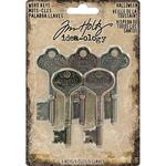 Antique Nickel Halloween Idea-Ology Metal Word Keys - Tim Holtz