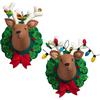 """6.5""""X8.5"""" Set Of 2 - Jingle & Belle Reindeer Heads Hanging Felt Applique Kit"""
