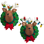 "6.5""X8.5"" Set Of 2 - Jingle & Belle Reindeer Heads Hanging Felt Applique Kit"