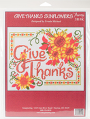 "10""X8.5"" 14 Count - Give Thanks Sunflowers Counted Cross Stitch Kit"