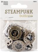 Antique Gold Gear 20/Pkg - Steampunk Buttons
