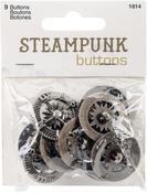 Antique Silver Compass 9/Pkg - Steampunk Buttons