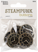 Antique Gold Clock 8/Pkg - Steampunk Buttons