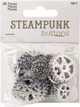 Silver Gear 20/Pkg - Steampunk Buttons