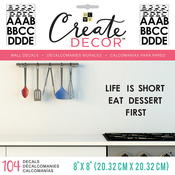 """Black Alphabet, 8 Sheets - DCWV Create Decor Removable Wall Decals 8""""X8"""""""