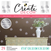 """Chrysanthemum, 6 Sheets - DCWV Create Decor Removable Wall Decals 8""""X8"""""""