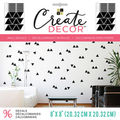 """Black Triangles, 8 Sheets - DCWV Create Decor Removable Wall Decals 8""""X8"""""""