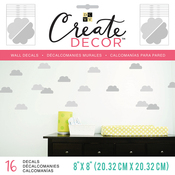 "Gray Clouds, 8 Sheets - DCWV Create Decor Removable Wall Decals 8""X8"""