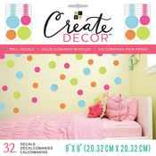 """Multi Dots, 8 Sheets - DCWV Create Decor Removable Wall Decals 8""""X8"""""""