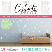 """Glow In The Dark Moon & Stars, 6 Sheets - DCWV Create Decor Removable Wall Decals 8""""X8"""""""