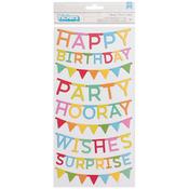 Happy Hooray Phrase Chipboard Pieces - Pebbles