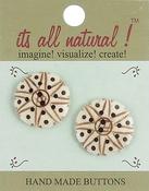 """Sun & Stars 1"""" 2/Pkg - Handmade Bone Buttons"""