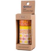 Yellow-Orange POP - Decorative Washi Tape Assorted Widths 5m 4/Pkg
